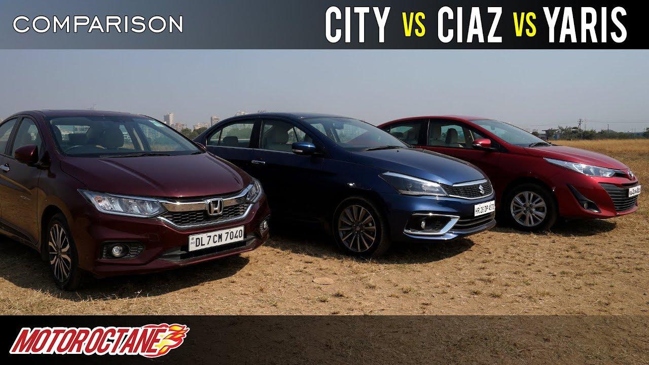 Motoroctane Youtube Video - New Honda City vs Maruti Ciaz vs Toyota Yaris 2019 Comparison | Hindi | MotorOctane