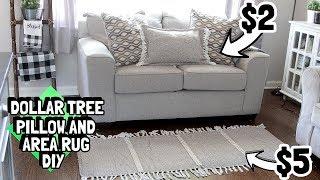 DOLLAR TREE WOVEN TASSLE AREA RUG AND THROW PILLOW DIY