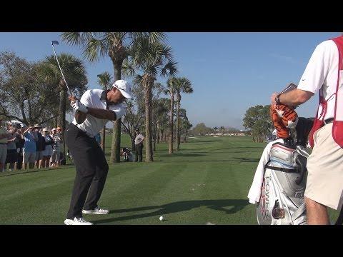 TIGER WOODS – BEAUTIFUL IRON DRAW BALL FLIGHT 4TH HOLE PGA NATIONAL – REG & SLOW MOTION 1080p HD