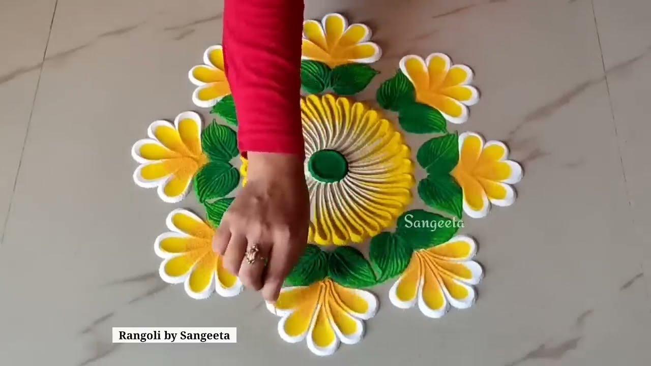 easy and very beautiful multi coloured rangoli by sangeeta