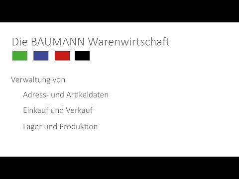 Das BAUMANN ERP: Grundlagen / Funktionsübersicht
