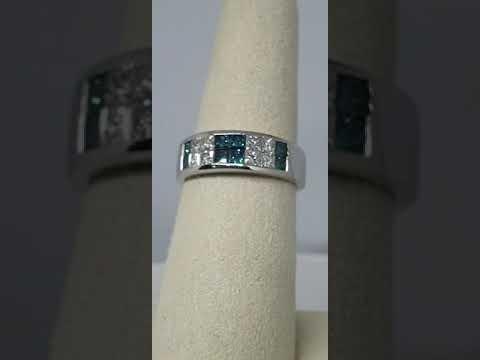 14kt White Gold Caribbean Blue & White Diamond Ring , Princess Cut Invisible Set Diamonds