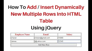 dynamic html table rows and columns creation using jquery 3.3.1