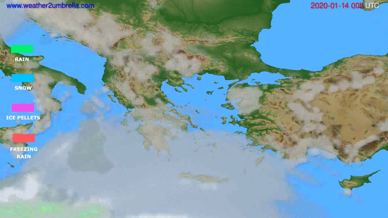 Precipitation forecast Greece // modelrun: 00h UTC 2020-01-13