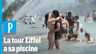 Canicule : Les Touristes Se Baignent Dans La Fontaine Du Trocadéro