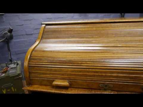 Oak Mid Century Roll Top Desk
