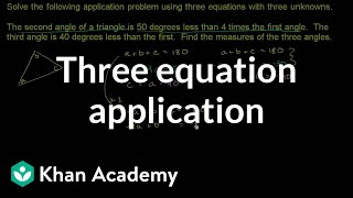Three Equation Application Problem