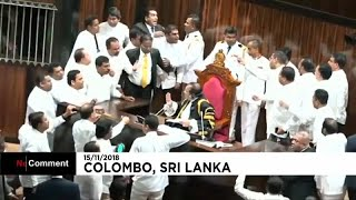 Потасовка в парламенте Шри-Ланки
