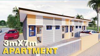 Small House Design 3x7 (21 SQM) Apartment  FULL PLAN