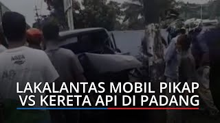 Mobil Pikap Ringsek Tabrakan dengan Kereta Api di Simpang GIA, Jalan Prof Dr Hamka Kota Padang