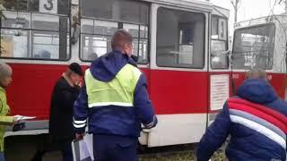 Авария трамвая и грузовика