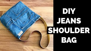DIY DENIM/JEANS CROSSBODY BAG/PURSE FROM OLD JEANS/RECYCLE/JEANS BAG HAND MADE/ เย็บกระเป๋าจากยีนส์