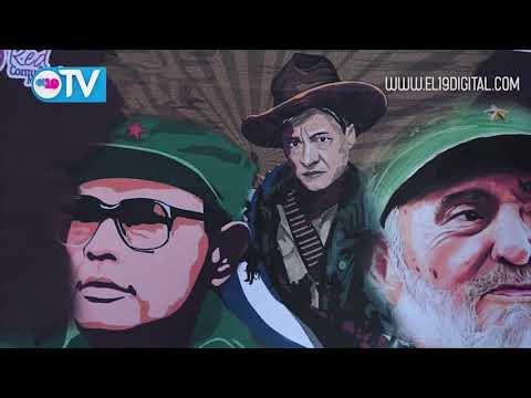 Juventud Sandinista presenta boceto de la pintura del Mural en Homenaje a Thómas Borge