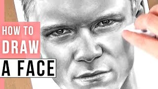 How To Draw A Realistic Face   Man Face Drawing Tutorial In Pencil