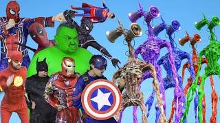 Superheroes VS Green Siren Head VS Red Siren Head VS Blue Siren Head VS Purple Siren Head