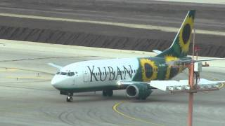 preview picture of video 'Kuban Air Boeing 737 taxing to gate terminal 3 at Ben Gurion airport-Israel'
