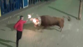 preview picture of video 'Zucaina Fiestas Taurinas toro embolado COLADO peña BOUS A L´OLLA v3 de 3 El Viejo Legionario'