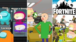 Mongo e Drongo em 3 episodios de games: Among Us, Fortnite e Baldis Basic - desenho animado