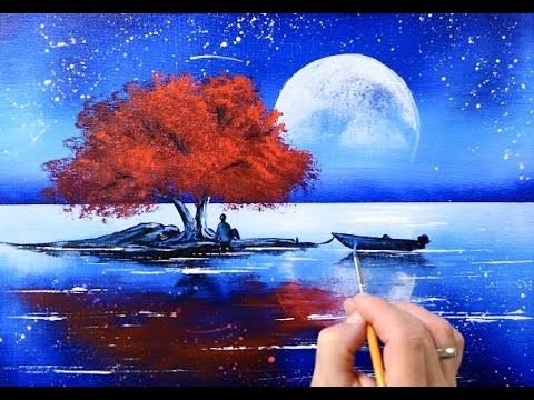 acrylic landscape painting red tree at full mooon easy for beginners by peter dranitsin