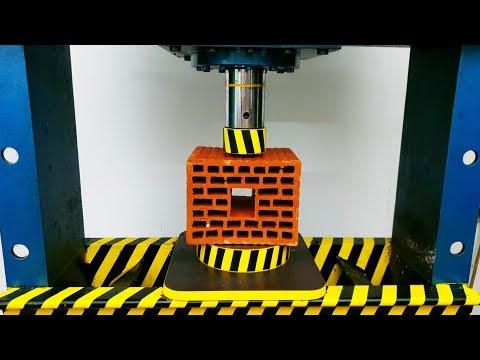 EXPERIMENT HYDRAULIC PRESS 100 TON vs Hollow Bricks