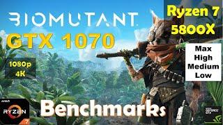 Biomutant GTX 1070 - 1080p - 4K - Ryzen 7 5800X - High - Medium - Low - Performance Benchmarks