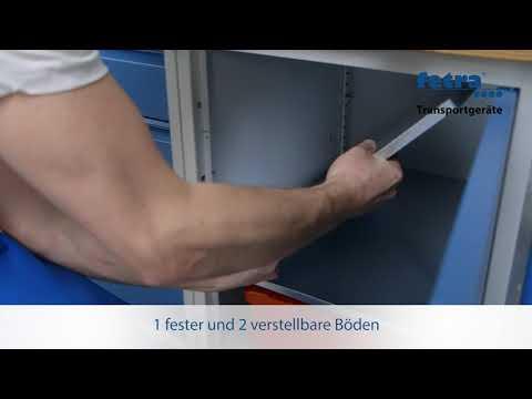 Fetra Werkstattwagen mit Umrandung, Schrank und 3 Ladeflächen-youtube_img