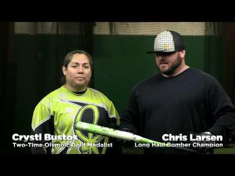 Crystl Bustos & Chris Larsen Swing the 2014 DeMarini Mercy Slow Pitch Bat!