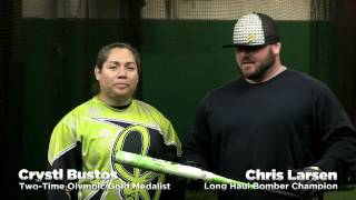 Crystl Bustos & Chris Larsen Swing the 2014 DeMarini Mercy Slow Pitch Bat!