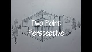 ARCHITECTURAL │How To Draw A Simple Modern House In 2 Point Perspective