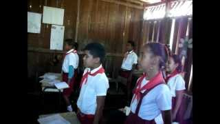 Cuban School Children Sing The Cuban National Anthem
