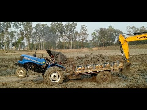 Sonalika DI 47 RX power check after heavy load on mud|| SONALIKA DI 47 RX rescue by Jcb 3DX