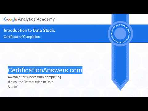 Introduction to Data Studio Certification Exam Assessment Answers ...