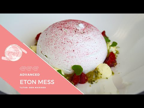 Modern Eton Mess - strawberries and meringue dome dessert - The Online Pastry School - Chef recipes