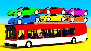 Color Car on Bus & Spiderman Cars Cartoon for Kids & Learn Colors for Children Nursery Rhymes Songs