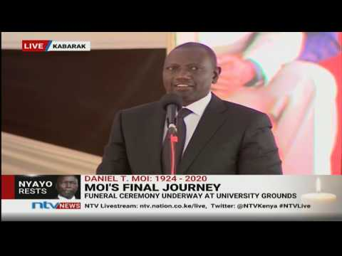 Deafening cheers as DP Ruto delivers speech at Moi's burial
