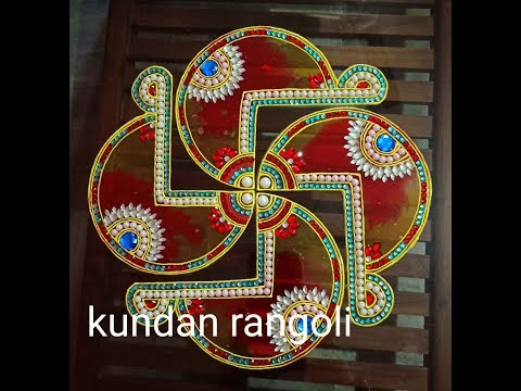 diy kundan rangoli design of swatika by minakshi