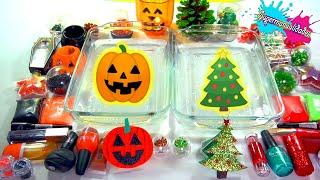 Mixing Slime Christmas vs Halloween - Supermanualidades