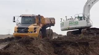 CATERPILLAR 336E & 336F-LRE & VOLVO A30F IN ACTION