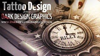 Pocket Watch Tattoo Design - Dark Design Graphics