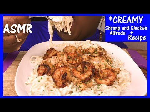 ASMR CREAMY 🍤 Shrimp and 🍗 Chicken Alfredo + Recipe and Eating Sounds No Talking
