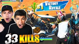 LITTLE BROTHER WINS HIS FIRST SEASON 5 FORTNITE GAME! HE CARRIES ME!
