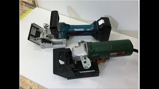 Wolfcraft Multi - Holzfräse gegen Makita DPJ 180 Akku - Nutfräse