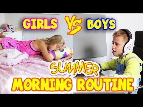 GIRLS vs BOYS Summer Morning Routine