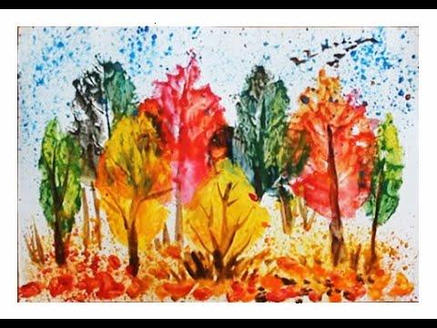 Осенний пейзаж поэтапно для детей. Печатание листьями. Нетрадиционное рисование
