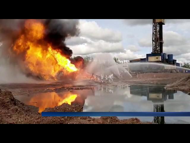 Пожар на нефтяной скважине помогали тушить военные артиллеристы