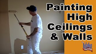 DIY Rolling High Ceilings & Walls.  Interior Painting Tips Rolling Walls.
