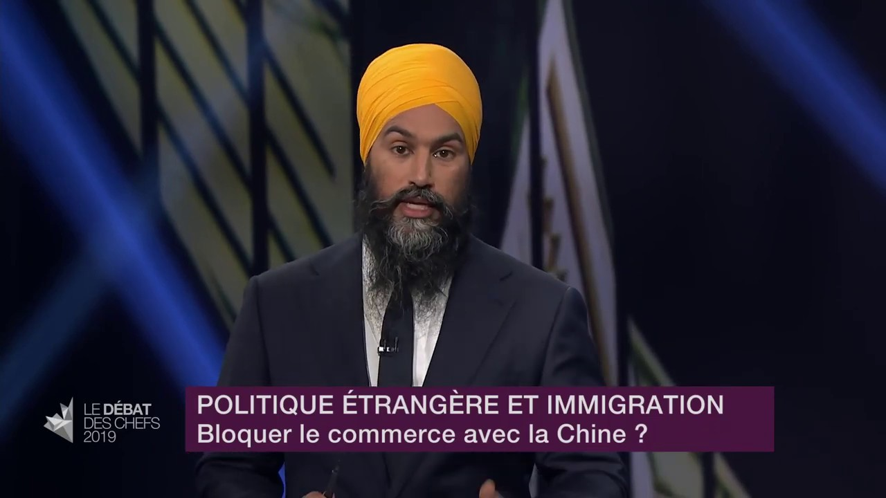 Jagmeet Singh answers a question about relations with China