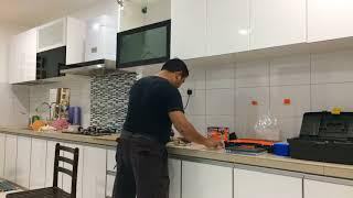 DIY IKEA JUTIS glass door smoked glass/black IKEA METOD wall cabinet MALAYSIA