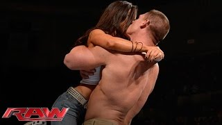 John Cena and AJ Lee kiss after Cena