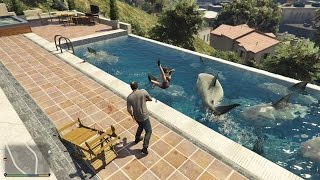GTA 5 Mod - Nuôi Cá Mập Trong Hồ Bơi (Sharks in the Pool)